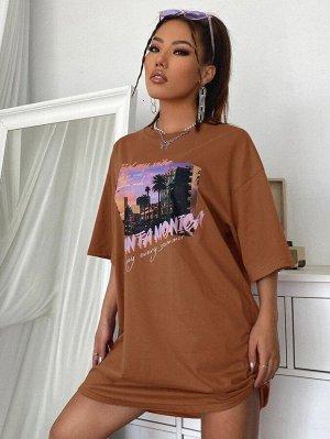 Платье-футболка с оригинальным принтом
