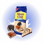 """Шоколад Alpen Gold Орео молочный """"Чизкейк с кусочками печенья""""  95гр"""