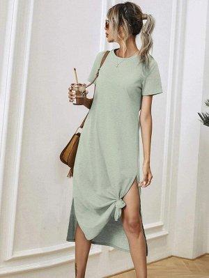 Платье-футболка с разрезом