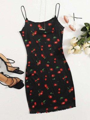 Облегающее платье с принтом вишни