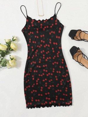 Платье с принтом 'вишня' и оригинальной отделкой