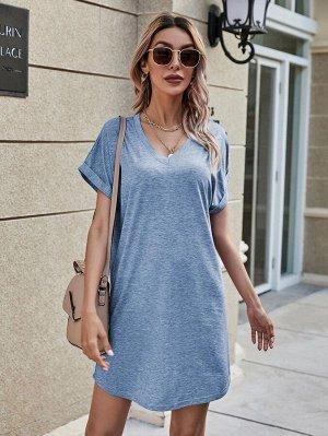 Платье-футболка с v-образным воротником