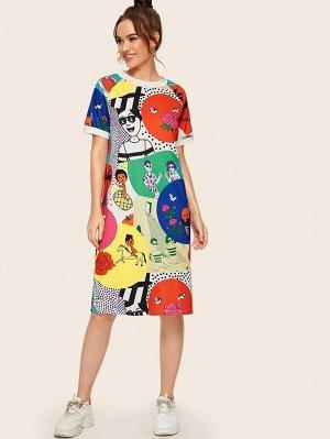 Платье-футболка с мультяшным принтом