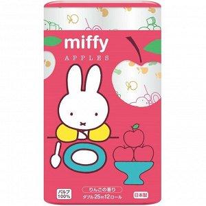 """Бумага туалетная Marutomi """"Miffy Apple"""" 2-х слойная, 25м х 0,107м, 12 рул/уп"""