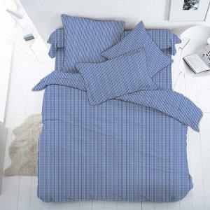 """""""Мицуба, синий"""" Постельное белье, комплект 1,5 спальный, 4 предмета: пододеяльник 145х215см, простыня 150х215см, 2 наволочки 70х70см с клапаном-запахом, перкаль 112г/м2, хлопок 100%, """"Домашняя мода"""" ("""