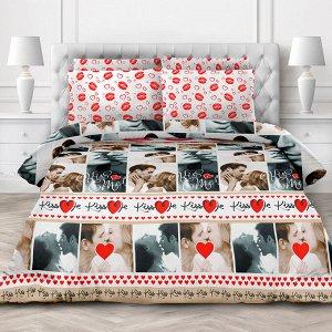 """""""Поцелуй"""" Постельное белье, комплект 1,5 спальный, 4 предмета: пододеяльник на кнопках 145х215см, простыня 150х220см, 2 наволочки 70х70см с клапаном-запахом, перкаль 118г/м2, хлопок 100%, """"Домашняя мо"""