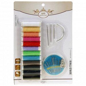 Набор для шитья 14 предметов: цветные нитки - 12 штук; иголки, нитковдеватель, в блистере (Китай)