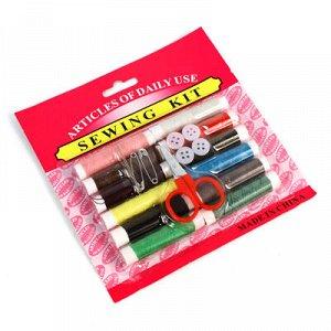 Набор для шитья 15 предметов: цветные нитки - 12 штук; ножницы; пуговицы; иголки, на блистере (Китай)