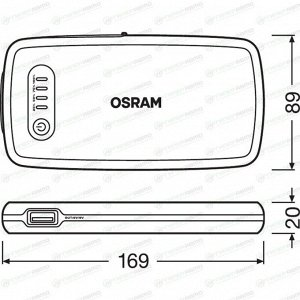 Устройство пусковое автономное Osram BATTERYstart 200, с функцией Power Bank, 7000мАч, 12В, ток пуска 150А, 1xUSB порт, с фонариком, арт. OBSL200