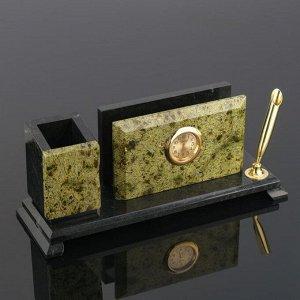 Набор письменный «Змеевик»: часы, визитница, подставки для ручек