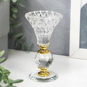 """Подсвечник стекло на 1 свечу """"Вазон с хрустальным шаром"""" 11х6х6 см"""