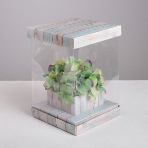 Коробка для цветов с вазой и PVC окнами складная «Счастье», 16 х 23 х 16 см
