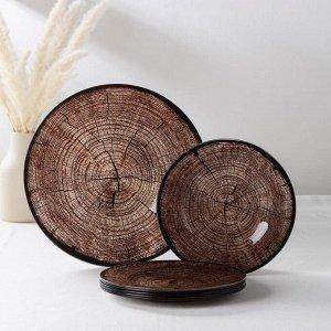 Набор столовый Vellarti «Спил дерева», 7 предметов: 30 см - 1 шт, 21,5 см - 6 шт, в подарочной упаковке
