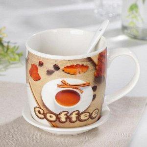 Кружка «Кофе», 360 мл, с подставкой и ложкой, рисунок МИКС
