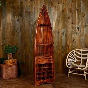 """Подставка под бутылки """"Лодка"""" 193х50х30 см, дерево албезия, коричневый"""