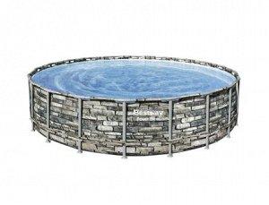 "Каркасный бассейн Power Steel 610x132см ""Камень"" 33240л, фил.-нас. 9463л/ч, лестн., тент, попл.-доз."