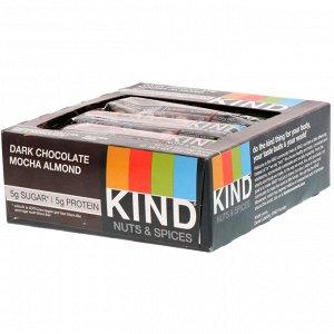 KIND Bars, Nuts & Spices, с темным шоколадом, мокко и миндалем, 12 батончиков, 40 г (1,4 унции) каждый