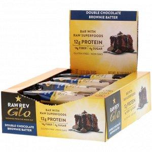 Raw Rev, Glo, брауни с двойной дозой шоколада, 12 батончиков, 1,6 унц. (46 г) каждый