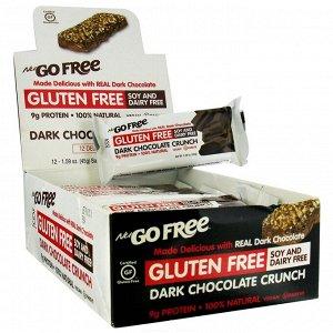 NuGo Nutrition, Хрустящие батончики без глютена, покрытые темным шоколадом, 12 батончиков по 45г каждый