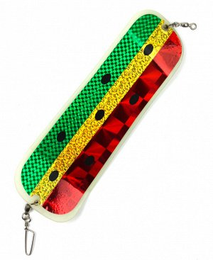 Флешер Big Game (28см, пластик, светонакопительный, зелено-желто-красный,черные точки,голография)