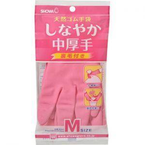 Перчатки резиновые c внутренним покрытием размер M (средней толщины, розовая)