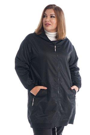 """Куртка Материал: Болоньевая ткань Состав ткани: 71%-Вискоза 27%-полиэстер 2%-эластан Куртка """"Бомбер"""" с капюшоном черная Удлиненная куртка - ветровка на подкладке, без утеплителя. Модель прямого кроя с"""