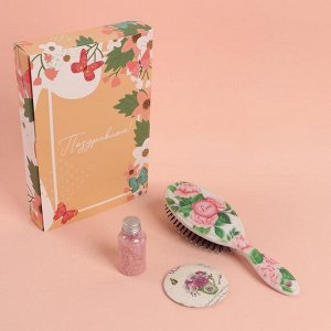Подарочный набор «Цветочки», 3 предмета: зеркало, массажная расчёска, соль для ванны