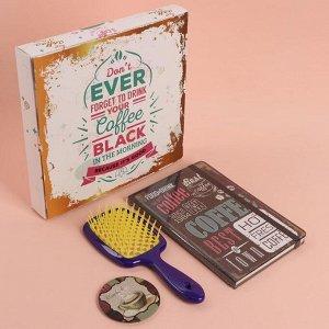 Подарочный набор «Кофе», 3 предмета: зеркало, массажная расчёска, ежедневник, цвет МИКС