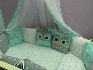 Бортик в кроватку Совята зеленые