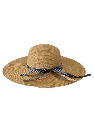 Женская плетёная шляпа с бантом, цвет коричневый