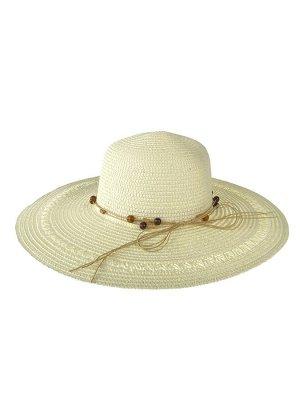 Плетёная женская шляпа с широкими полями, цвет белый