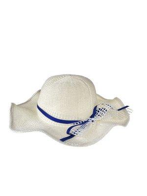 Летняя женская шляпка с волнистыми полями, цвет белый