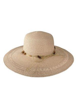 Плетёная женская шляпа с широкими полями, цвет пудровый