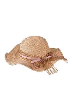 Летняя женская шляпка с волнистыми полями, цвет светло-коричневый