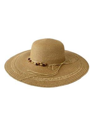 Плетёная женская шляпа с широкими полями, цвет коричневый