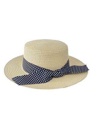 Летняя женская шляпка с бантом в горошек, цвет бежевый