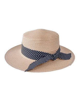 Летняя женская шляпка с бантом в горошек, цвет пудровый