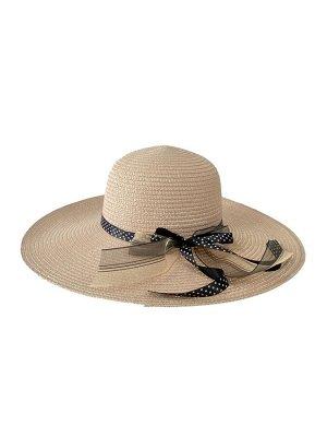 Женская плетёная шляпа с бантом, цвет пудровый