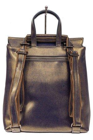 Женский рюкзак трансформер из натуральной кожи, цвет бронза