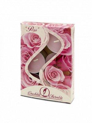 Свеча чайная 12 гр х 6 шт Роза ароматизированная
