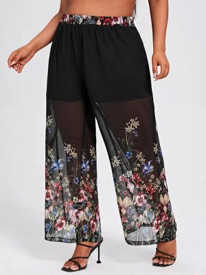 Шифоновые широкие брюки размера плюс с цветочным принтом