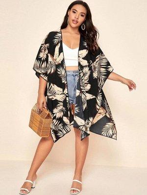 Кимоно размера плюс с тропическим принтом и разрезом