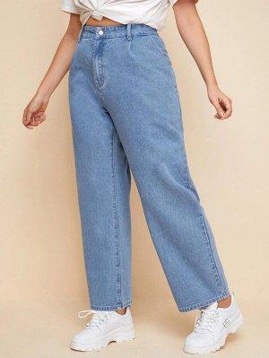 Прямые джинсы размера плюс с высокой талией
