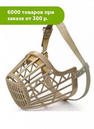 Намордник пластиковый с кожаным ремешком №4, 60*50*105мм, Triol