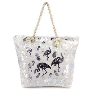Пляжная сумка с блестящим принтом (Фламинго)