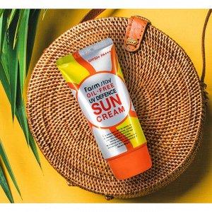 Обезжиренный солнцезащитный крем с алое Farm Stay  Oil-Free UV Defence Sun Cream SPF50+ PA+++