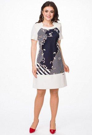 Платье Melissena 732 синий-бежевый