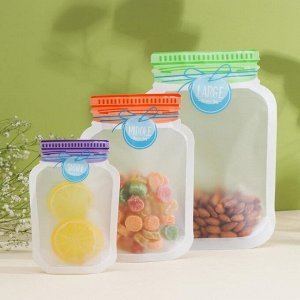 Набор пакетов для хранения продуктов «Бирки», 3 шт, 10,5x15/13,5x19,5/17x24,5 см, цвет МИКС