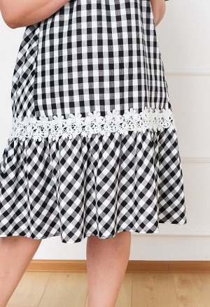 Платье 0091-9 черно-белый