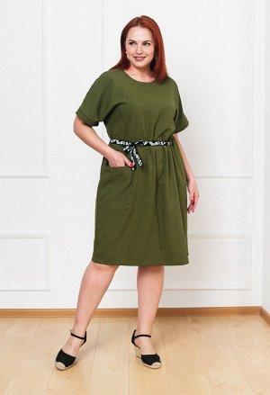 Платье 0090-3 оливковый